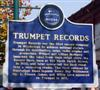 Trumpet Records' Blues Trail marker (front side). Photo Credit: Gary Bohannon