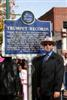Webb with the Historical Marker. Photo Credit: Gary Bohannon